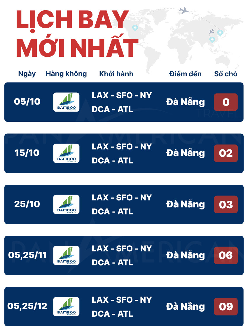 lịch bay mỹ việt nam tháng 10 11 12